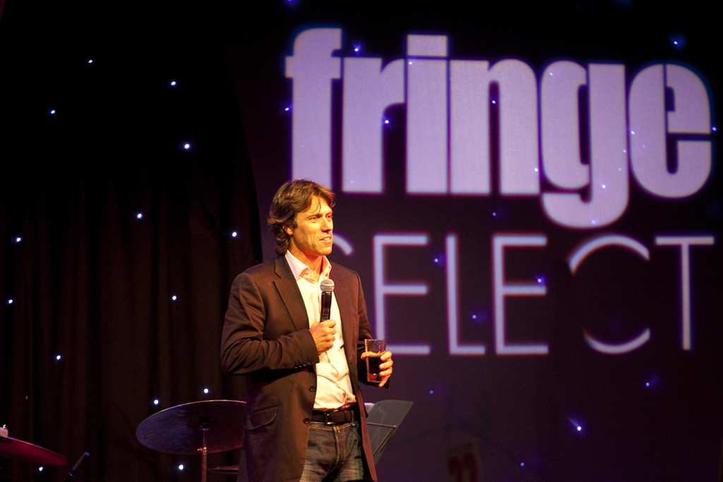 A stand-up comedian at The Edinburgh Fringe Festival